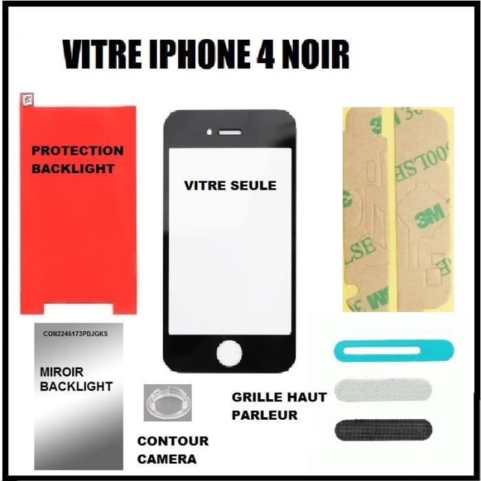 kit reparation vitre iphone 4 apple noir achat pi ce t l phone pas cher avis et meilleur prix. Black Bedroom Furniture Sets. Home Design Ideas