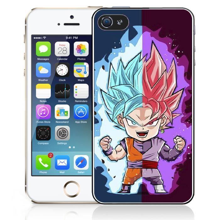 Coque iPhone 4 - 4S Dragon Ball Black Goku Cartoon
