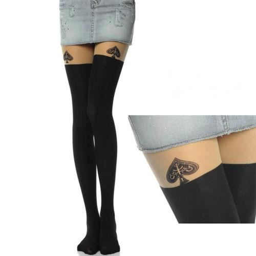 Bas femme Sexy autofixant Tattoo collants Bas Stockings - Cœur ... 5e2abc4e496