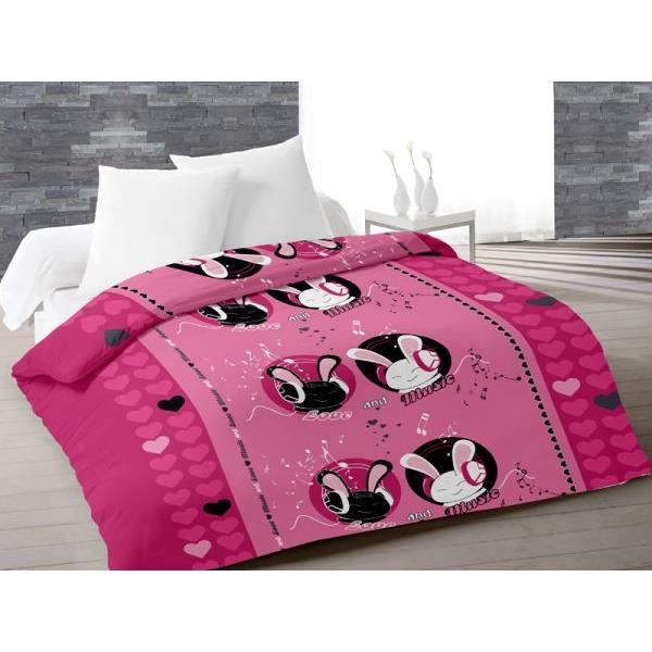couette 220x240 cm imprim e 400g m2 love music rose achat vente couette cdiscount. Black Bedroom Furniture Sets. Home Design Ideas