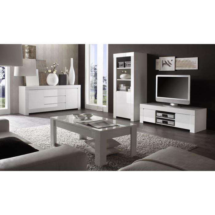 Ensemble salon boston 217 laqu blanc achat vente for Ensemble salon salle a manger complet