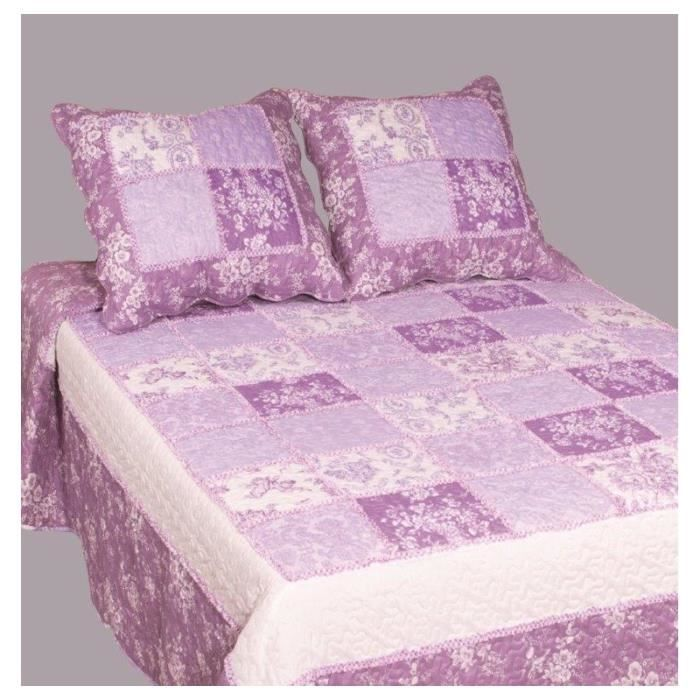 couvre lit boutis 2 places patchwork pens e violet achat vente jet e de lit boutis cdiscount. Black Bedroom Furniture Sets. Home Design Ideas