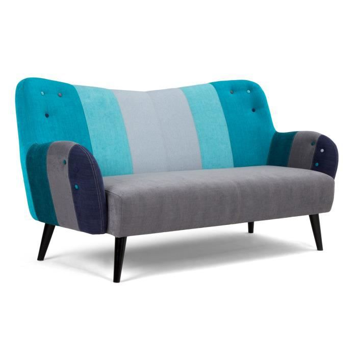 canap 3 places phoenix de style r tro gris et bleu massivum achat vente canap sofa. Black Bedroom Furniture Sets. Home Design Ideas