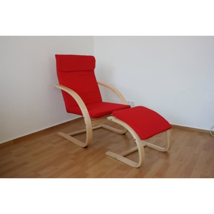 rocking chair fauteuil bascule repose pied achat vente fauteuil rouge cdiscount. Black Bedroom Furniture Sets. Home Design Ideas