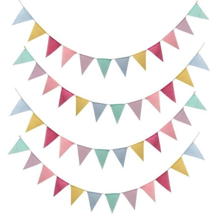LaMure Multicolore 48 Triangle Drapeaux 30 Ft Imit/é Lin Toile De Jute Jardin Banderoles Banni/ères Guirlande pour Int/érieur en Plein Air Partie De Mariage Anniversaire De No/ël D/écoration