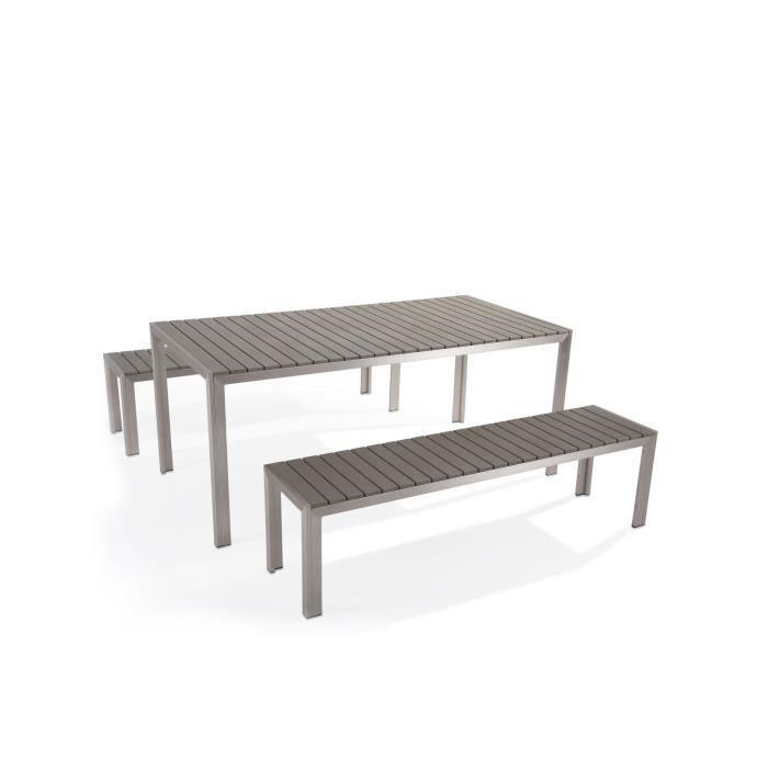 SALON DE JARDIN  Table de jardin aluminium gris - plateau en polywo