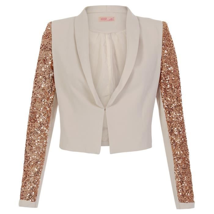 femme veste blazer court paillet beige beige achat vente veste soldes d t cdiscount. Black Bedroom Furniture Sets. Home Design Ideas