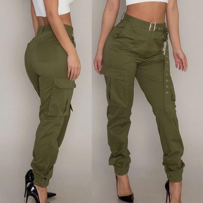 pantalon femme kaki militaire