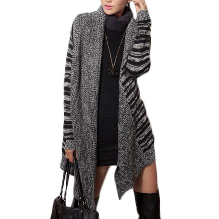 manteau gilet maille femme rayures cardigan pull tricot manche longue grande taille noir gris. Black Bedroom Furniture Sets. Home Design Ideas