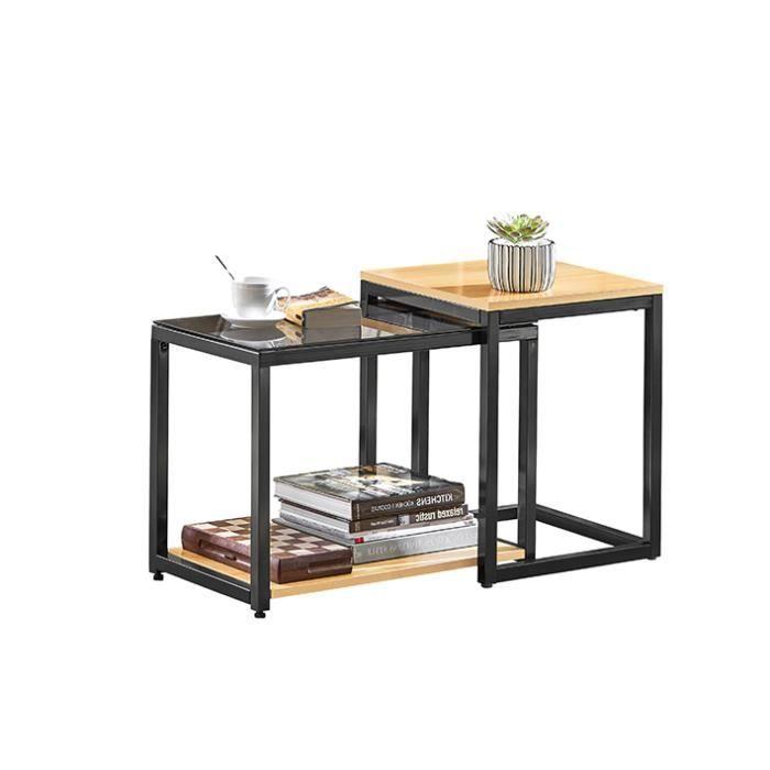 TABLE BASSE SoBuy® FBT35-Sch Tables Basses Gigognes - Set de 2