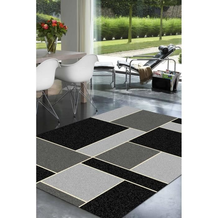tapis salon geometrique noir et gris universol achat. Black Bedroom Furniture Sets. Home Design Ideas