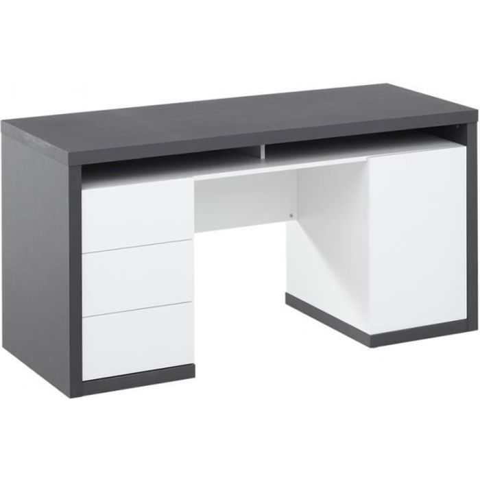 bureau avec rangements igor iii blanc et gris achat. Black Bedroom Furniture Sets. Home Design Ideas
