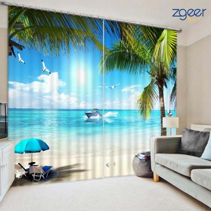 ATTACHE POUR RIDEAU Rideau 3D Nature Paysage Polyester Résistant 167*2