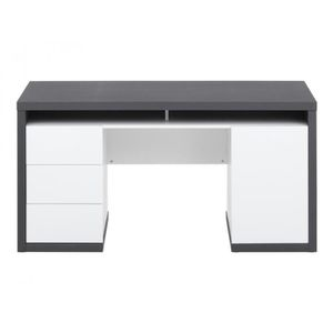 bureau gris et blanc achat vente bureau gris et blanc pas cher cdiscount. Black Bedroom Furniture Sets. Home Design Ideas