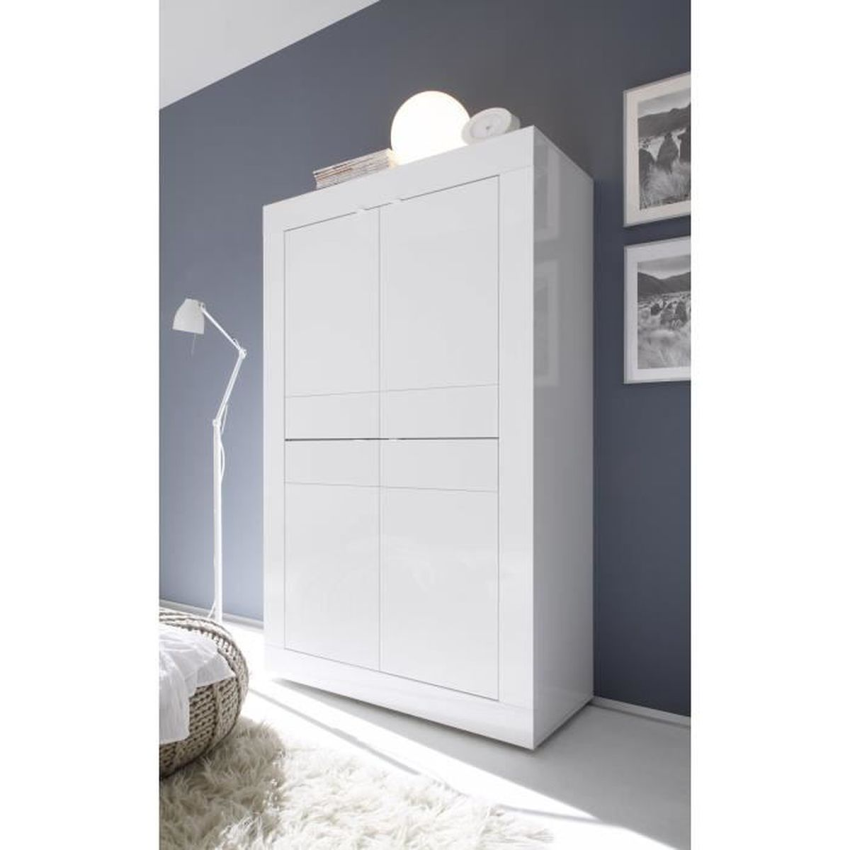 argentier blanc laque meuble house blanc achat vente. Black Bedroom Furniture Sets. Home Design Ideas