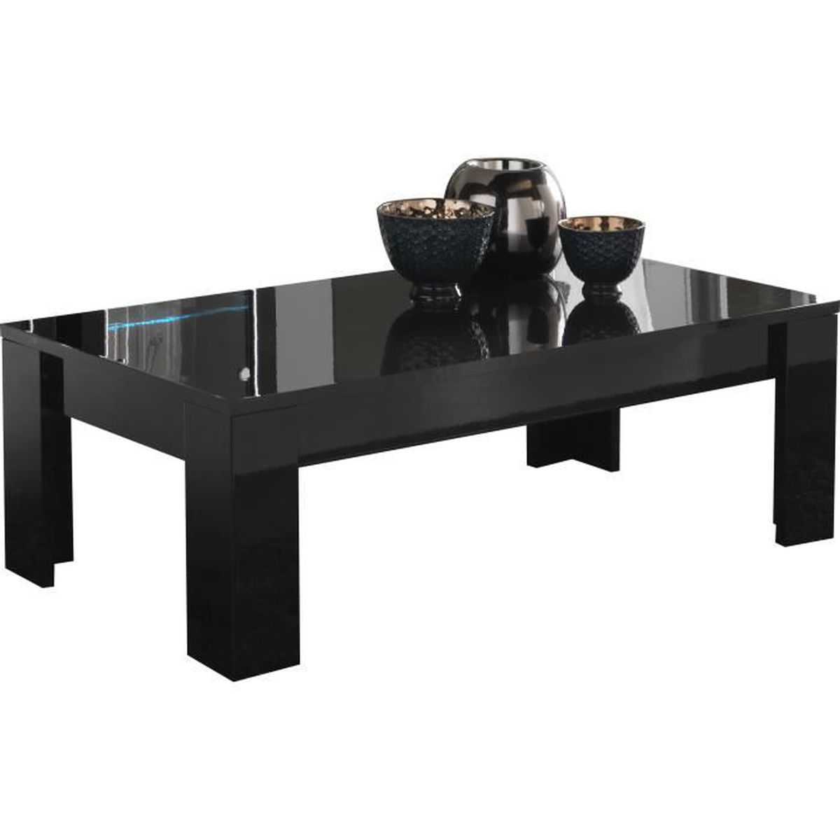 table basse rectangulaire coloris noir laqu brillant noir. Black Bedroom Furniture Sets. Home Design Ideas