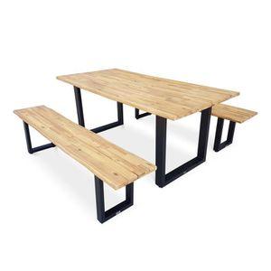 SALON DE JARDIN  Table de jardin en bois 180cm avec 2 bancs – SALTA