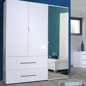 ARMOIRE DE CHAMBRE Armoire 3 portes et 2 tiroirs 162 cm blanche - DUL