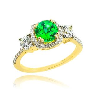 ALLIANCE - SOLITAIRE Bague Femme Alliance 10 ct Or 471/1000 Emeraude  D