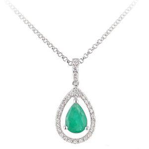 Créé émeraude Coeur Collier Pendentif 5//8 carat ARGENT STERLING CTW