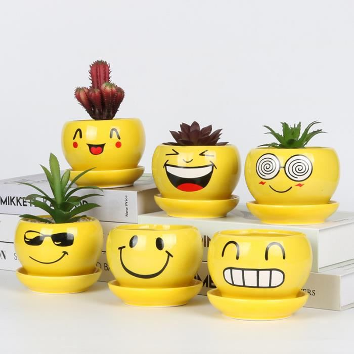 Mini-pot expression de smiley poupée pot bureau écologique bouteille petit pot plante lot de 6 pcs
