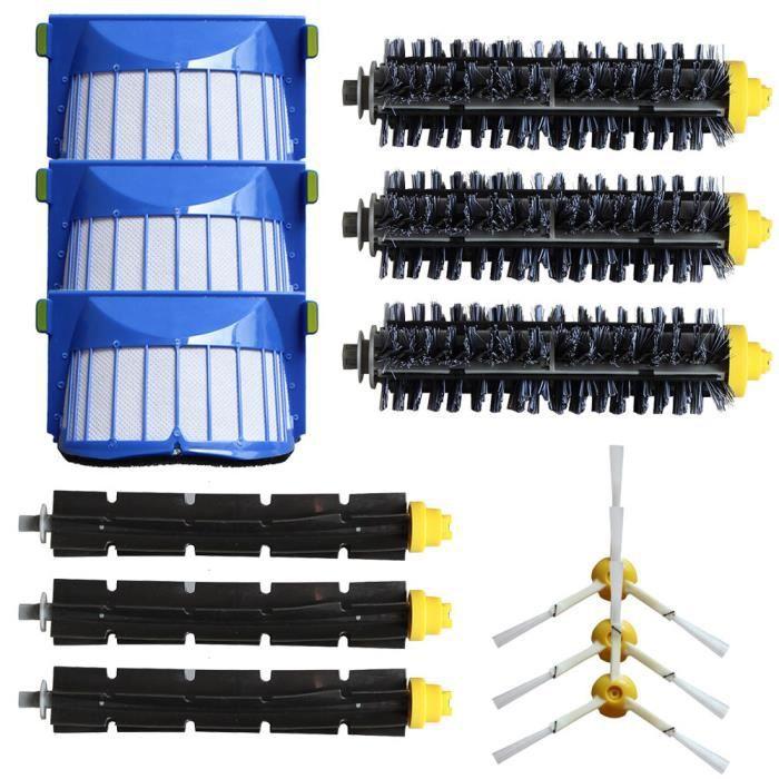 3 Kit de filtre latéral de balai armé pour iRobot Roomba 600 série 620 630 650 660 Noir