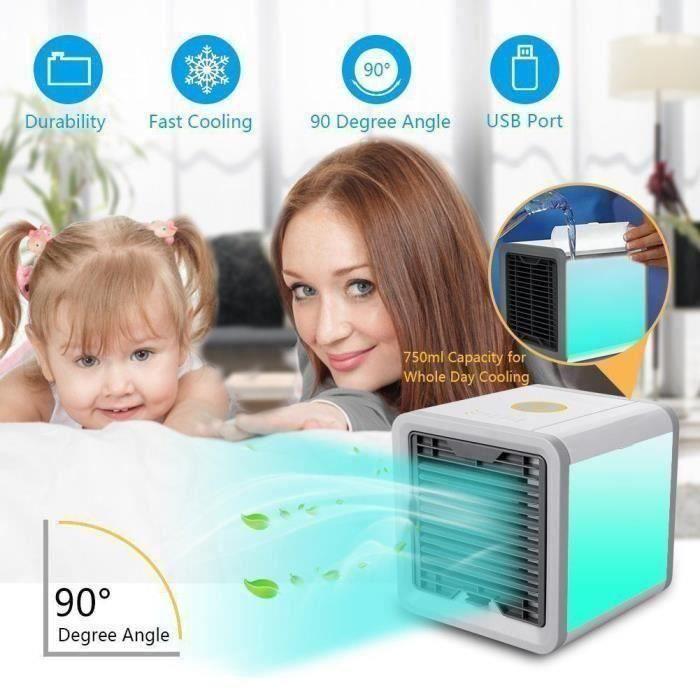 Climatiseur Mobile Silencieux Mini Ventilateur USB Portable Humidificateur Purificateur 7 Couleurs pour Maison Bureau