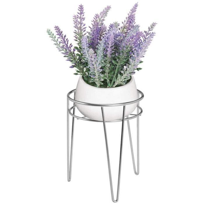 mDesign support pour plantes – petit porte pot de fleurs sur pied au design industriel – jardinière en métal avec pieds en épingle à