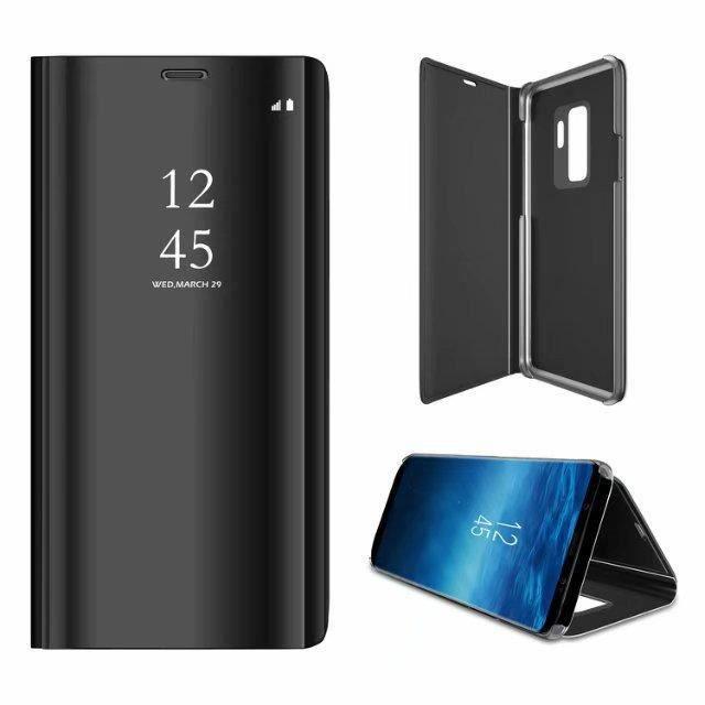 Etui pour Samsung S10E. HOUSSE CHAUSSETTE noir miroir de luxe vue claire sommeil intelligent réveil titulaire support de support