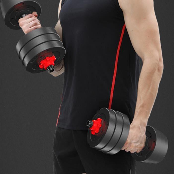 Lot d'haltères 30kg poids musculation(rouge)