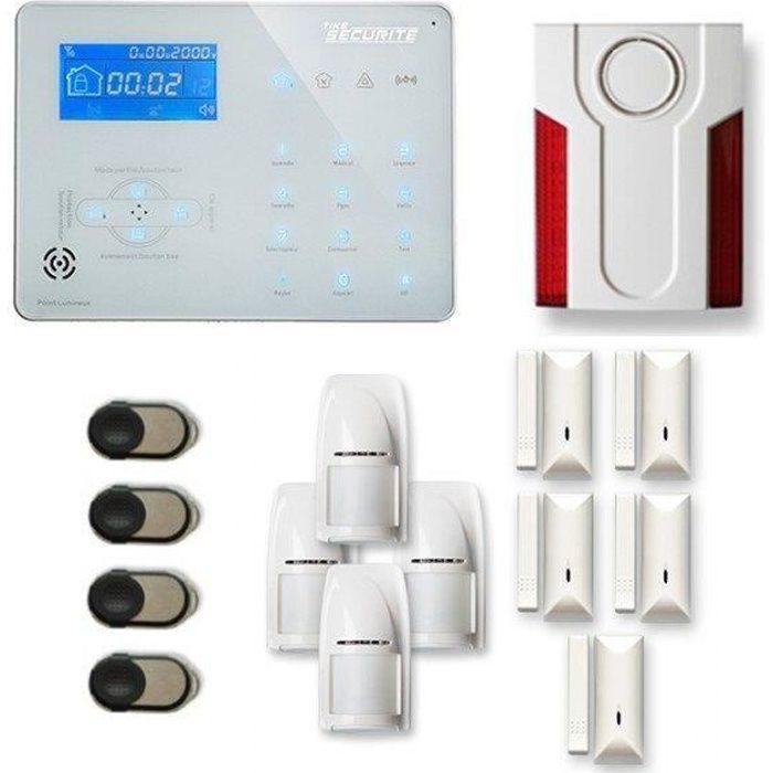 Alarme maison sans fil ICE-B 4 à 5 pièces mouvement + intrusion + sirène extérieure - Compatible Box / GSM