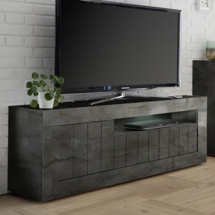 Banc TV gris anthracite moderne MABEL L 138 x P 42 x H 56 cm Gris