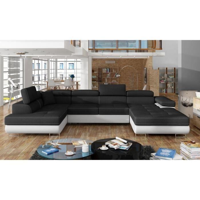 en Tissu , Canap/é Droit Salon /& s/éjour ARGEA Soro 100+Soro 83 E-MEUBLES Canap/é en lit Convertible avec Coffre de Rangement 3 Places Relax Droit Noir + Gris Clair
