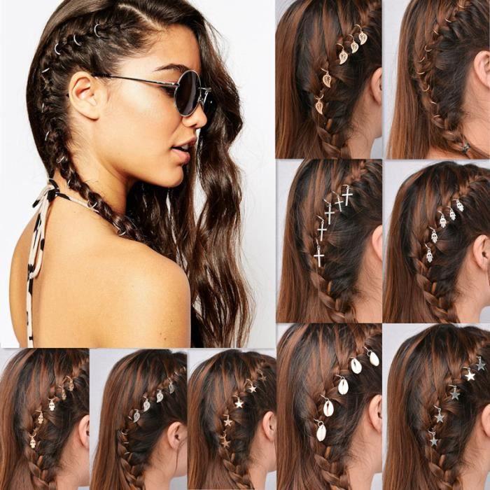 bandeau - serre-tête -1 lot = 5 pièces nouveau mode bijoux de cheveux argent plaqué rétro punk bel...- Modèle: shell - MIZBFSC06853