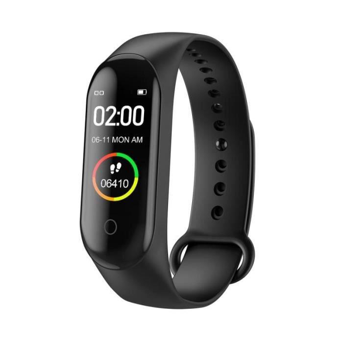 Podomètre,M4 Bracelet à bande intelligente Bluetooth Sport montre Bracelet intelligent couleur écran étanche fréquence - Type Black