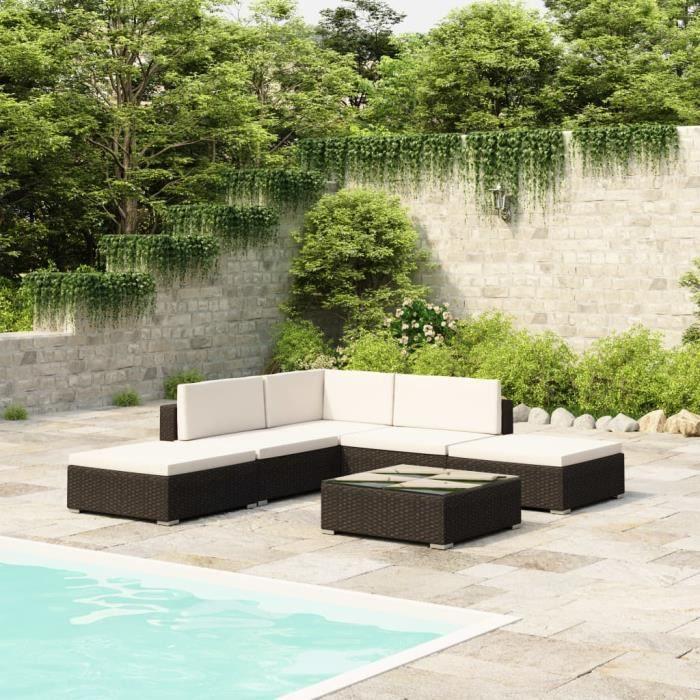 Salon de jardin 6 pcs - Meuble de jardin - Salon Bas De Jardin avec coussins Résine tressée Noir Parfait #848763
