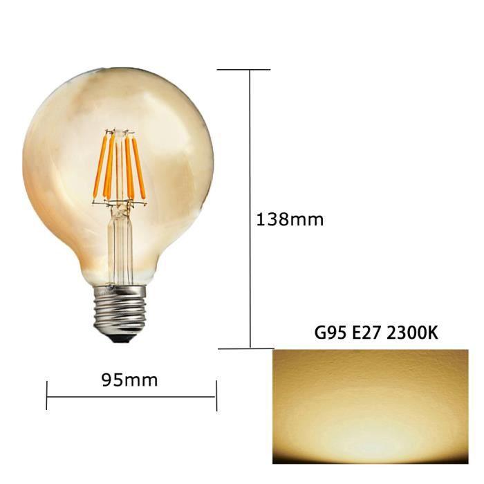 Lot de 1 Ampoules LED G95 E27 6W Vintage Rétro Filament de Rechange 60W Blanc chaud 2200K 600lm Pas dimmable