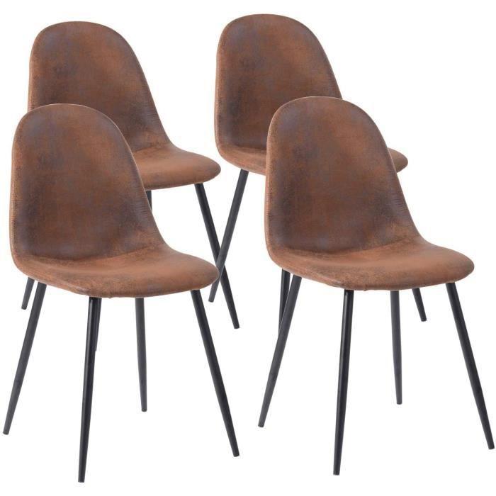 CHAISE E COSY Lot de 4 chaises de salle agrave manger Scandinave Fauteuil Salon Salon Pied Meacutetal Noir Reacutetro Vintage en121