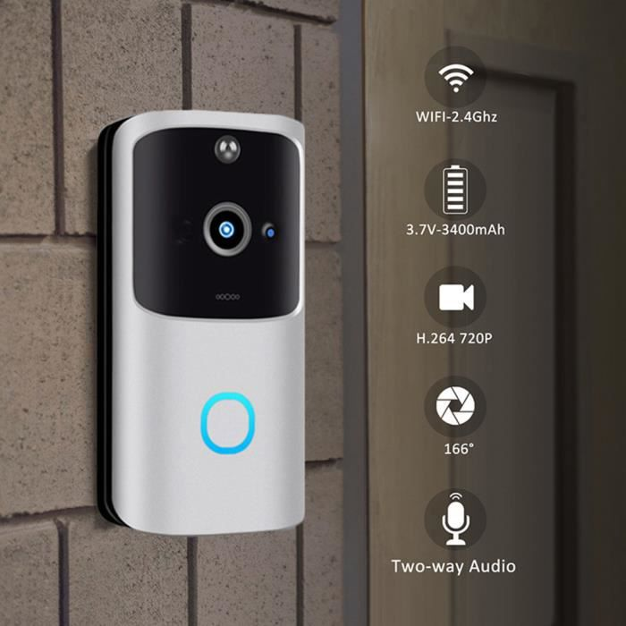 Sans fil WiFi DoorBell Smart Video Phone Interphone visuel Sonnette Caméra sécurisée 440