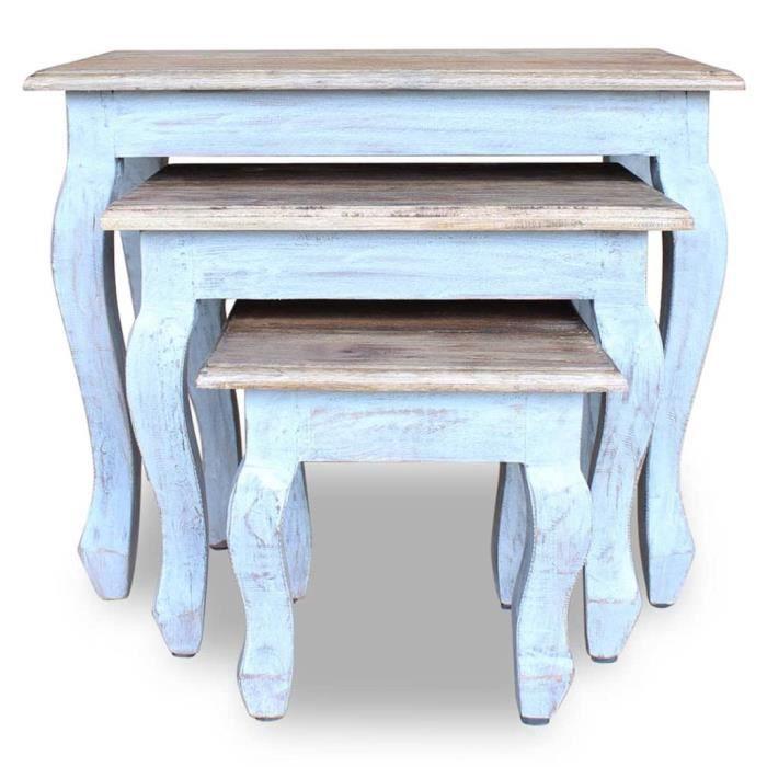 Style Élégance Chic - Lot de 3 Tables gigognes Table basse Table d'appoint - Bois de récupération massif - 27745