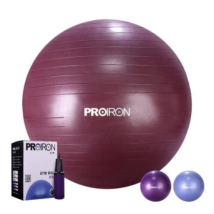 PROIRON Ballon de Fitness Suisse Epais Exercice de Yoga Gym Stabilité Anti-explosion avec Pompe à Main 65cm-75cm