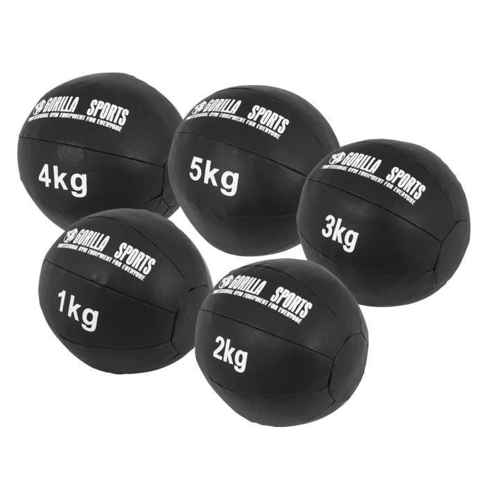 Lot de 5 Médecine Balls en cuir Synthétique - 1, 2, 3, 4 et 5 KG (15 KG)