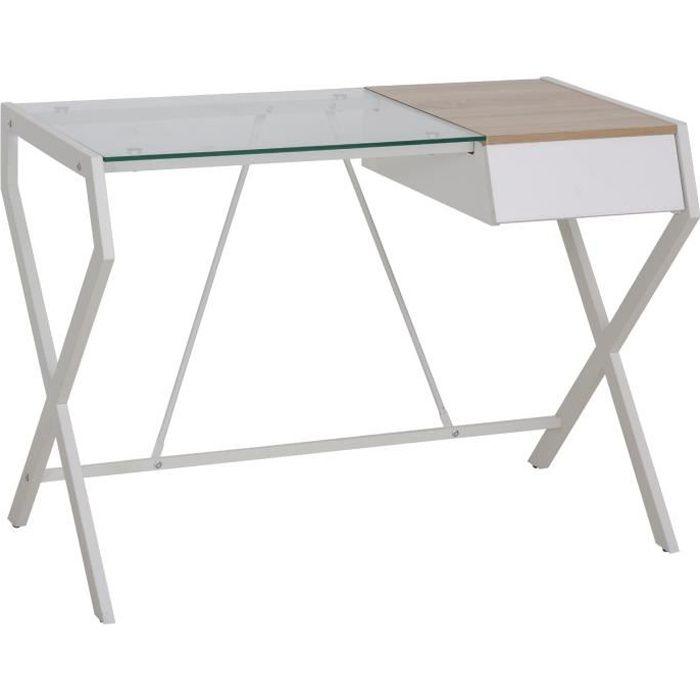Bureau informatique table ordinateur design contemporain métal panneaux de particules blanc bois de chêne verre 105x56x74cm Blanc