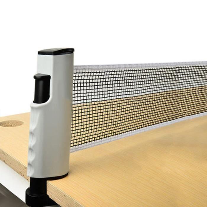 Filet de ping-pong rétractable , support de filet de tennis de table portable, parfait pour une table de ping-pong - NOIR&GRIS