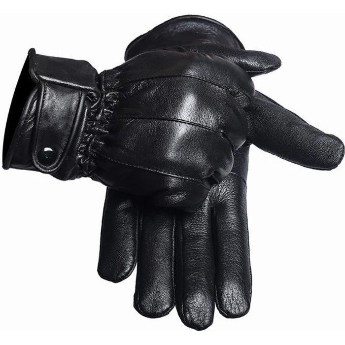 Gants cuir homme moto style noir doublé polaire