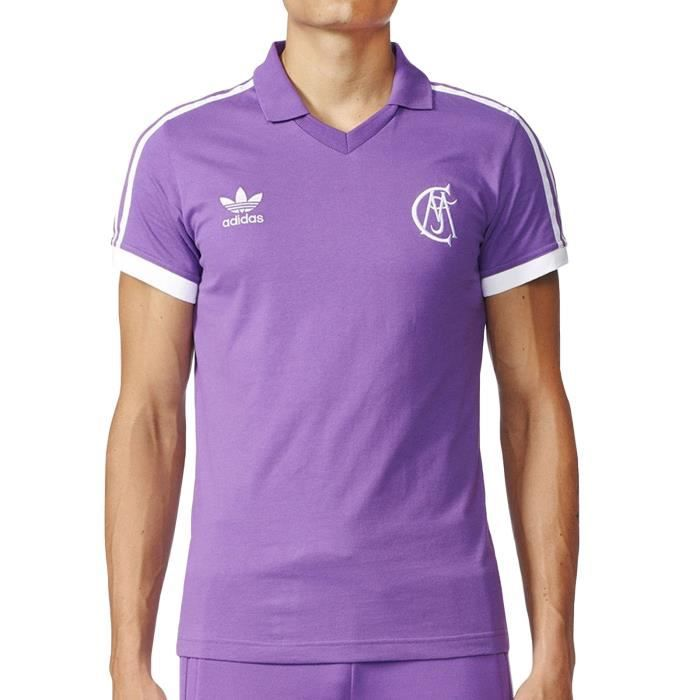 adidas Real Madrid Jersey Homme maillot de football rétro soccer col en V - violet -