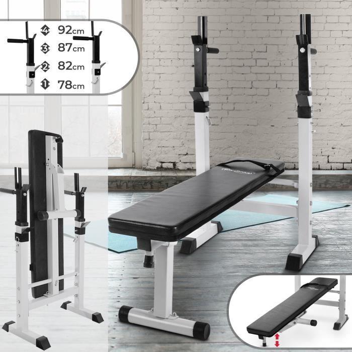 Physionics® Banc de Musculation avec Support de Barres - Pliable & Réglable, Charge max. 200kg - Banc de Poids, d'Entraînement
