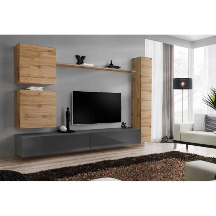 Ensemble de meuble de salon, SWITCH VIII.Meuble TV mural design, coloris gris brillant et chêne Wotan. 40 Gris