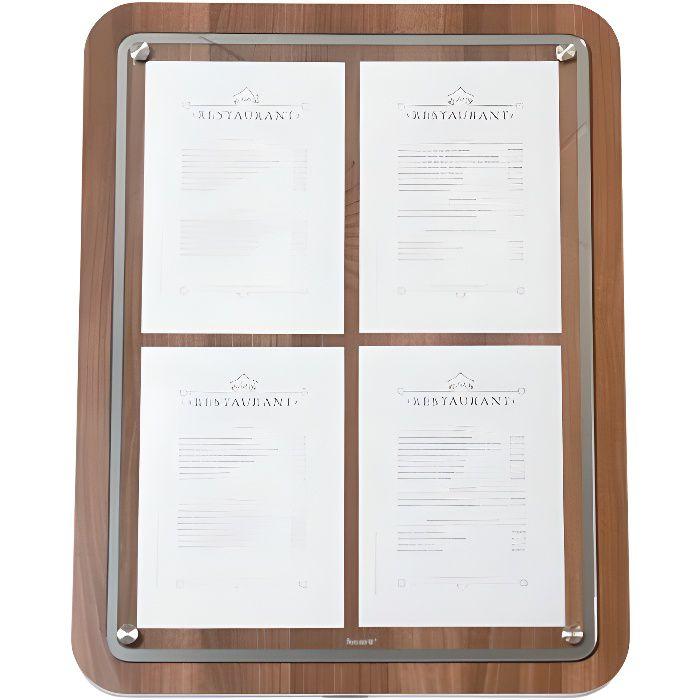 Porte-menu 4 x A4 Glass Star en bois aspect noyer - Support menu hôtel restaurant Sans pied Bois
