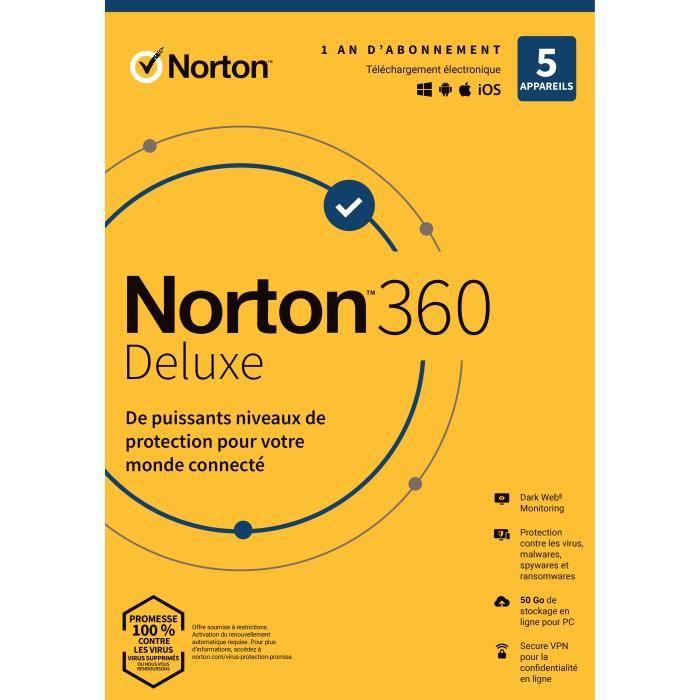 Antivirus Norton Security Deluxe 2019 | 1 An | 5 Appareils | Pc Mac Android Ios | [Téléchargement]